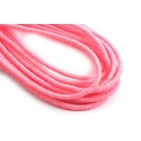 Polymer / fimo perler, 3x1 mm, pink, 1 streng