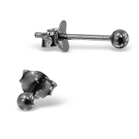 Petit Plain Ear Studs Black
