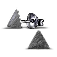 Plain Triangle Ear Studs Black